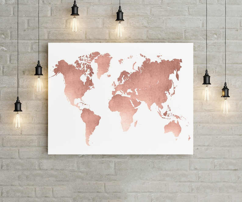 World Map Wall Art Rose Gold Print World Map Poster Rose Etsy