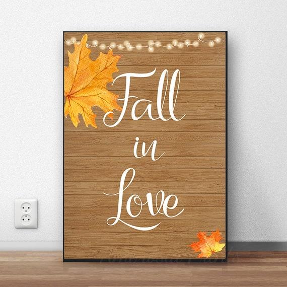 Fall in Love Decor Fall Wall Art Fall Leaf Print Autumn | Etsy