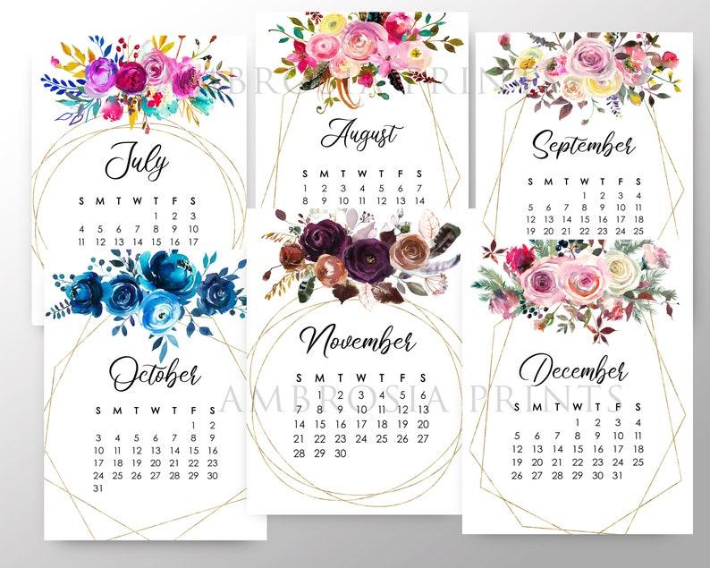 2021 Floral Calendar Printable 2021 Desk Calendar Digital ...