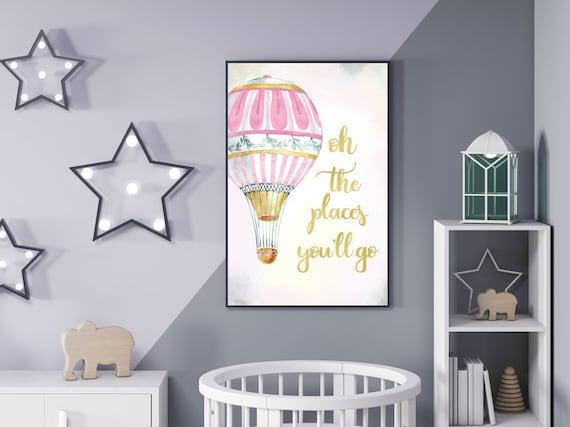 3 Adventure Prints Teepee Hot Air Balloon Nursery Wall Art Blue Room Pictures