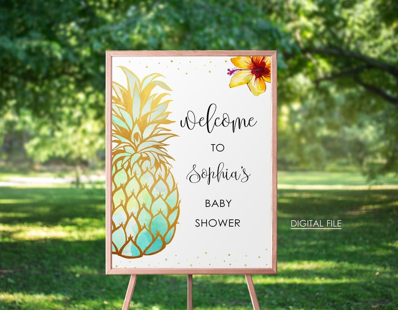 Pineapple Baby Shower Welcome Sign Printable Pineapple Theme Tropical Baby Shower Welcome Sign Hawaiian Pineapple Baby Shower Decor