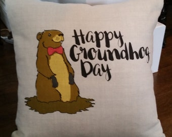 Happy Groundhog Day pillow cover