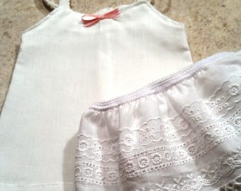 2-Piece Slip Set - White Cotton Dress Slip and Eyelet Half Slip - For 18 inch Doll Fits American Girl size dolls