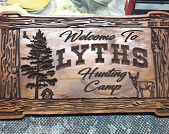33cb3c39 Valentine's Gift For Boyfriend / Custom Family Name Wood Sign / Hunting Camp  Sign / Deer Camp Sign / Rustic Welcome Sign