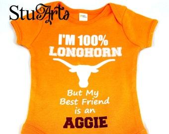 df63219fb 100 % Longhorn Baby Onesie Aggie Gift