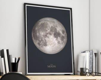 Moon Print, Full Moon Wall Art, Moon Poster, Moon Printable, Lunar Print, Full Moon Print, Moon Phase Art Print, La Luna Print, Moon Decor