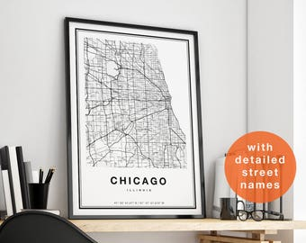 Chicago Map, Chicago City Map Print, Chicago Map Print, Chicago Print, Chicago Art, Chicago Poster, Chicago Map Art, Map of Chicago Illinois