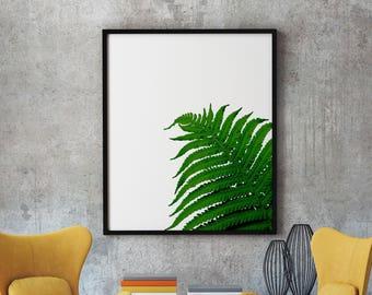 Fern Print Art, Botanical Leaf Art Print, Fern Leaf, Tropical Leaf, Fern Wall Print, Fern Poster, Printable Fern Leaf, Tropical Leaf Decor