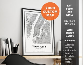 Custom City Map Print, Personalized Map Art, Custom Map Print, Custom Map Gift, Custom Maps Wall Art, Printable City Map Art With Streets