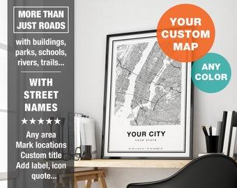 Custom Map Print, Personalized Map Art, Custom City Map Print, Custom Map Art, City Map Art, Printable Custom Map Gift