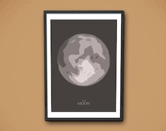 Moon Print, La Luna Print, Moon Poster, Moon Wall Art, Full Moon Print, Full Moon Art, Lunar Art Print, Moon Decor, Moon Phase Printable
