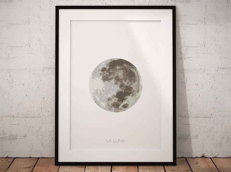 Lunar Phase Lunar Art Print Moon Print Moon Phase Decor Full Moon Wall Art Printable Moon Art La Luna Moon Poster Full Moon Print