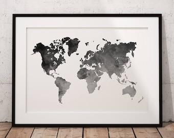 Map Of The World Print Art, World Map Print Art, Map Of The World Wall Art, World Map Poster Art, Map Of The World Printable, World Map Art