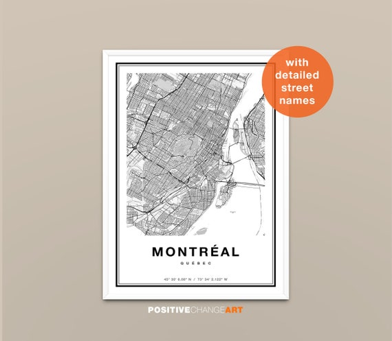 Montreal map print wall art Montreal Canada city map poster Montreal print street map decor road map gift printable Art
