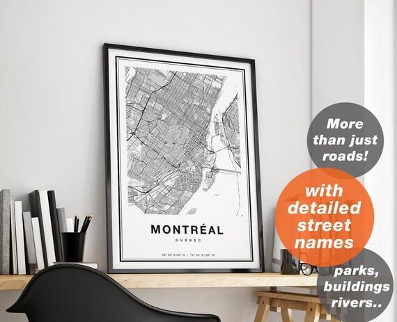 Impression Imprimer Carte De Montreal Ville Carte Art Etsy