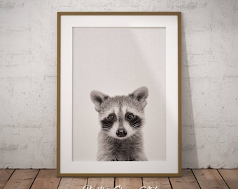 Woodland Raccoon Art, Woodland Nursery Decor, Nursery Raccoon Art Print, Forest Raccoon Printable, Baby Raccoon Art, Kids Room Printable Art