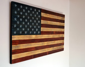 American Flag In Wood Rustic Style For Interior Design Wall Decoration Gift Military Independence Day Memorial