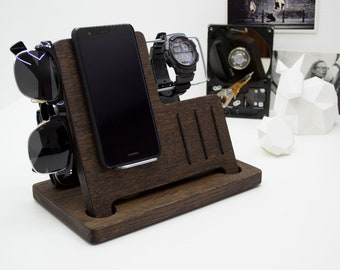 Charging Station, Valentine's day, gift for him, Wooden Desk Organizer, Wood iPhone Stand, iPhone Dock, Wood docking station, Charging Dock