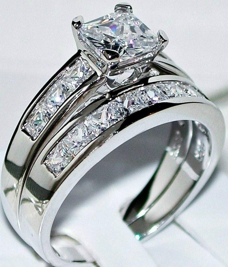 Princess Cut 2PC Simulated Diamond Engagement Ring Set 925 Sterling Silver Bridal Band Ring Set Simulated Diamond Wedding Band Set