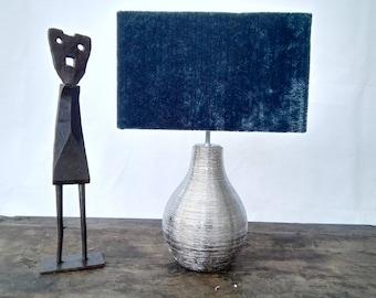 Rectangular velvet fabric lampshade eccentric textured blue 30cm