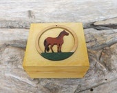 Wood tiny box with Horse, hand-painted custom little jewelry treasure chest, personalized gift for horses lover, small wooden trinket box