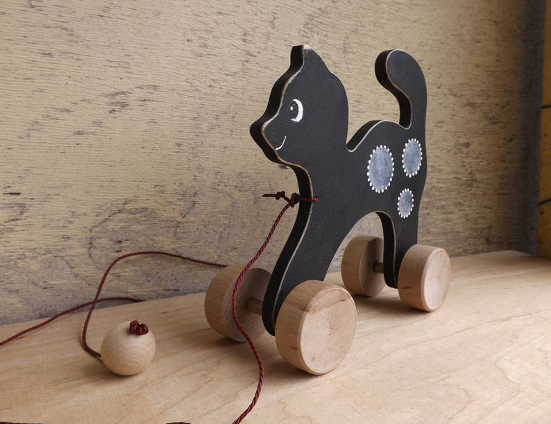 wooden Cat toy personalized gift for toddlers handmade hand-painted custom animal toy on wheels Black White Grey Wood pull toy Cat
