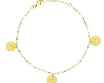 "14kt Yellow Gold Diamond-Cut Round Disk Charm Dangle Bracelet 7""-8"" Chain Adjustable"