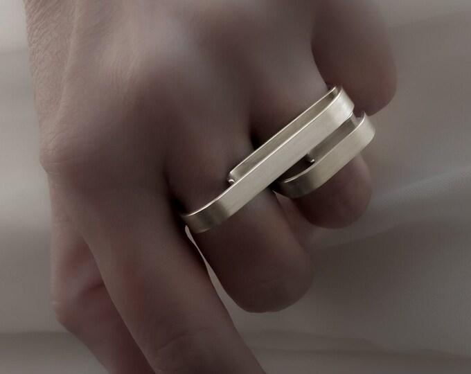Alternative White Gold ring , White Gold Double ring - Large Minimalist , Gold Bar ring - White Gold Knuckle , Geometric ring , Signet ring