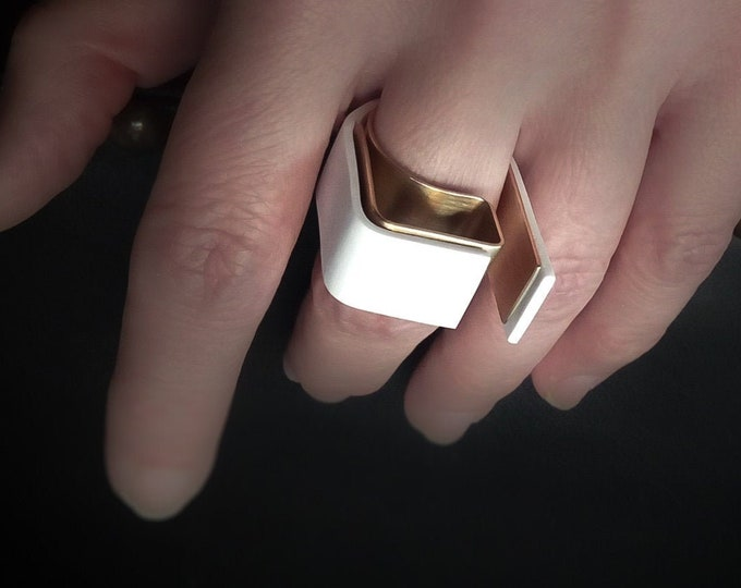 Big Bold White Brass Geometric rings - Contemporary Modern jewelry - Unique Art Statement ring