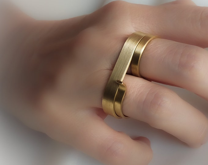 2 Finger Brass Double ring , Large Minimalist , Long Bar - Two rings Set - Bold Bar ring , Oversized ring  for Women