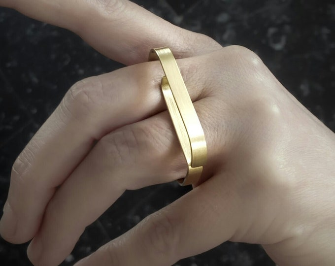 Solid 14k Gold Double Finger ring , Modern Geometric , Unique Alternative jewelry for women - Large Minimalist , Two Finger ring