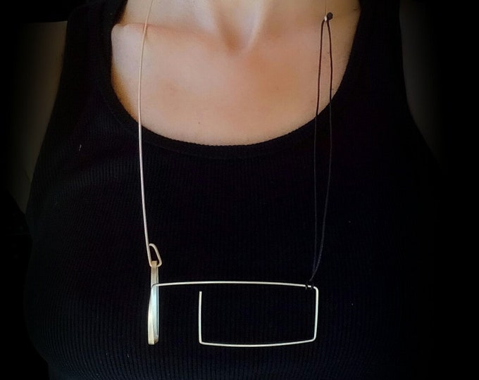 Unique Geometric necklace - Architectural Silver necklace - Rectangle Horizontal necklace - Statement Modern necklace - Unusual jewelry
