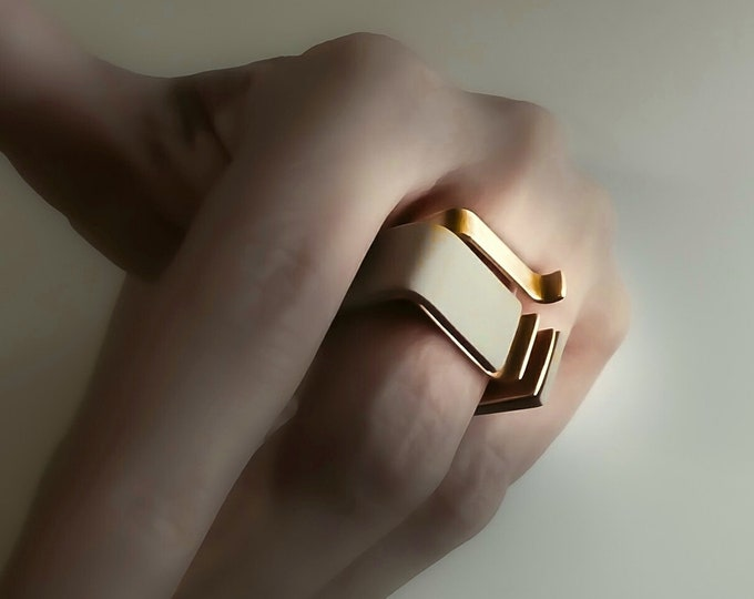 Modern Rings Set ~ Double Architectural Rings , Large Minimalist , Square Bands wide , Geometric ring Set _ Statement Modern