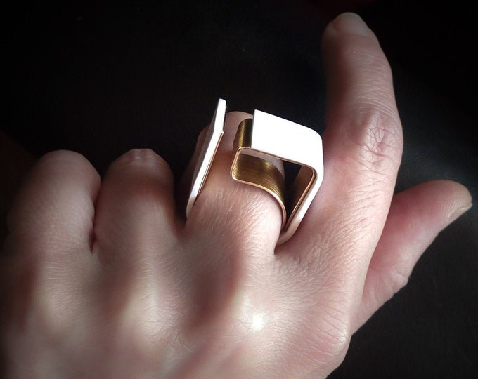Geometric Statement ring ~ Brass Modern jewelry , Unique Architect ring , Big Statement ring women