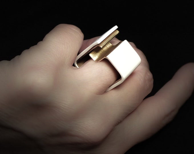 Bold Minimalist Square White Brass ring - Big Contemporary Wide Brass Band ring - Original Geometric Unisex jewelry