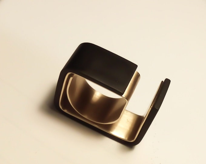Geometric Avant Garde ring - Modernist Black Brass ring - Geometric Brass ring - Wrapped Unisex Modern rings
