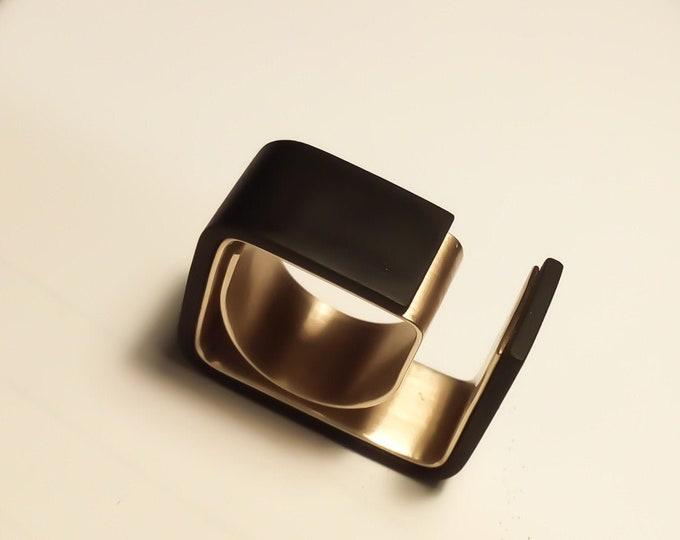 Geometric Avant Garde ring - Modernist Black Brass ring - Geometric Brass ring - Wrapped Unisex Modern rings