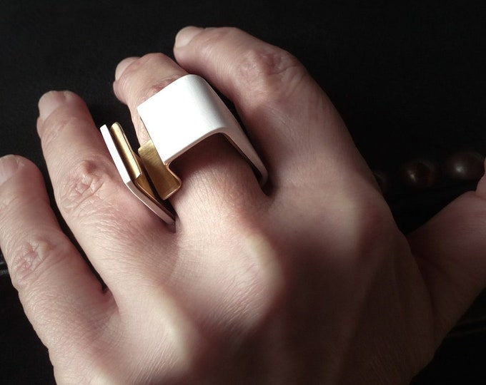 Unique Wide Square Statement ring - One of a Kind Modern Brass ring - Original Geometric Contemporary jewelry