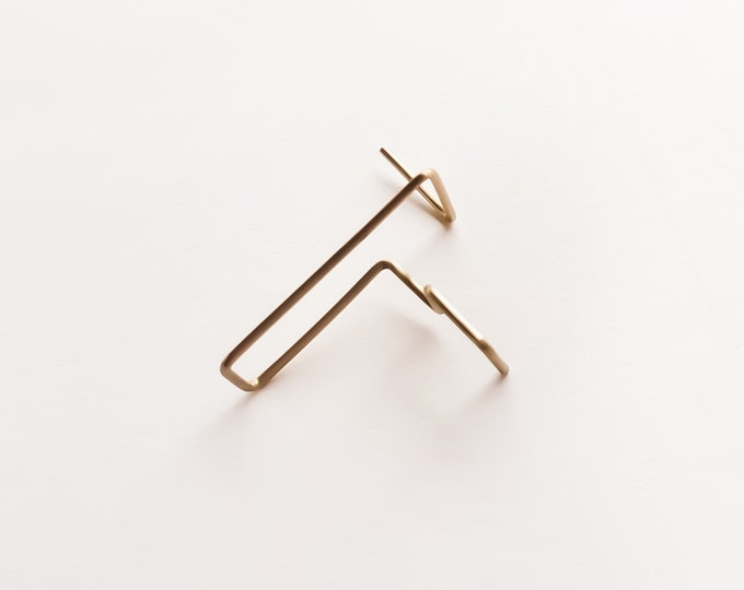 Minimalist Threaders ~ Geometric Minimal earrings , Modern Simple , Everyday ~ Bar Threaders , Line Gold earrings for women