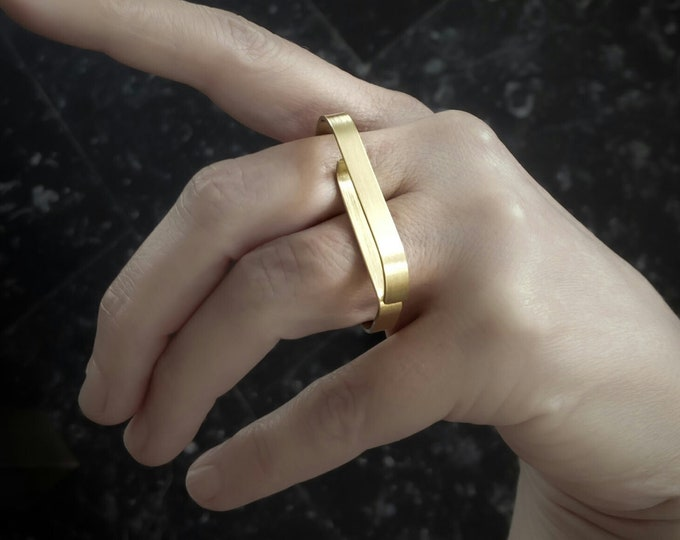 Double finger, Large Minimalist Gold ring - Geometric Gold jewelry - Modern Statement , Gold Bar ring - 14k Solid Gold