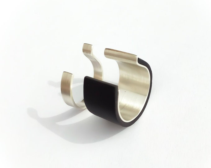 Unique Modern Black Sterling ring women ~ Geometric Minimalist double rings , Big Minimalist , Black Wide bands for Men