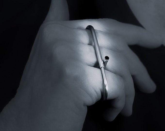 3 Finger Sterling Silver ring , Multifinger Linear - Horizontal Minimalist , Long Modern Bar - Triple ring - Oversized