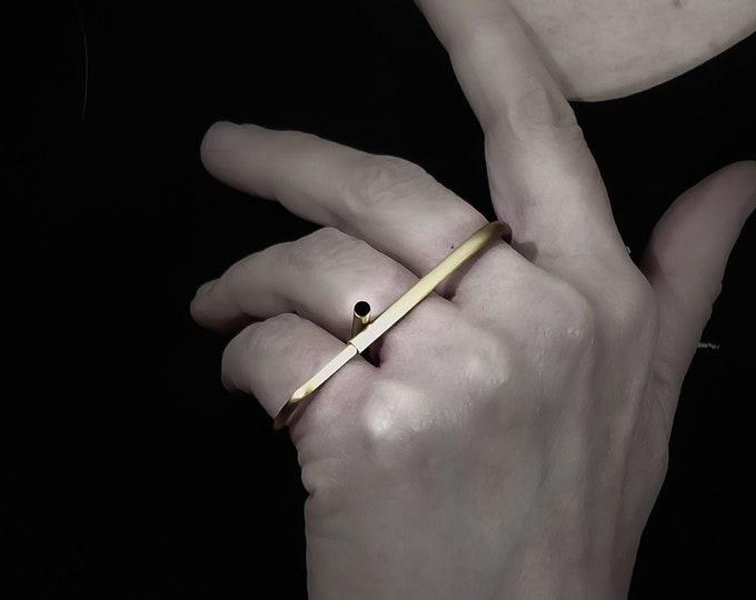 3 Finger Brass ring , Multifinger Linear - Horizontal Minimalist , Modern Long Bar - Triple ring - Bold Bar , Oversized ring for Women