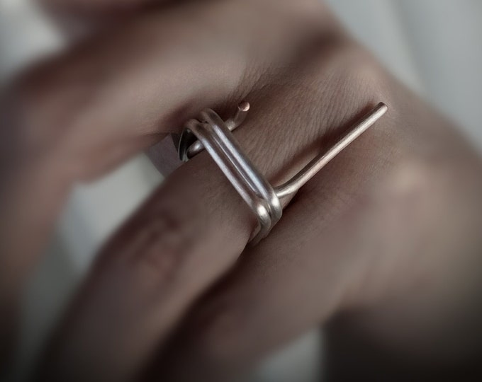 Unification Of Two.Stacking Rings.Sterling Silver.Architectural Rings.Geometric Minimal Rings.Minimalist Square Rings.Contemporary Rings.