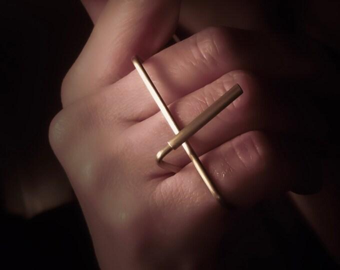 3 Finger Brass Triple ring , Large Minimalist , Geometric Long Bar -  Bold Bar ring , Original Geometric jewelry