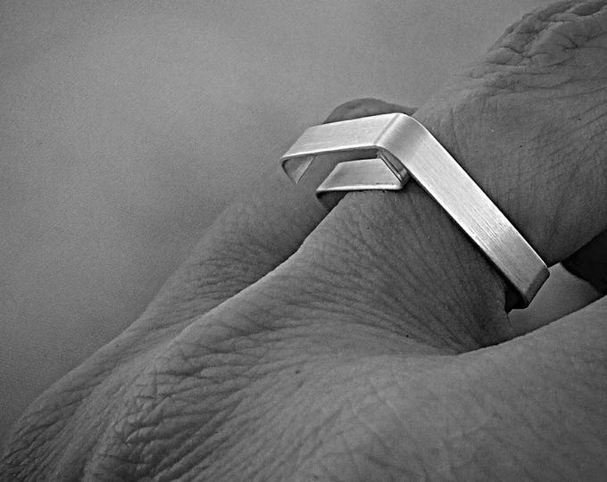 Minimal Silver Square Modernist ring - Flat Rectangular Architectural - Geometrical - Brushed Silver Band