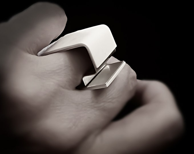 Unique · Modern White Silver Geometrical ring - Square - Architect ring - Original Geometric Jewellery
