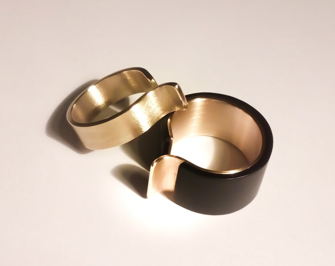 Modern Rings Set ~ Double Architectural Rings , Large Minimalist , Wide Flat Bands , Geometric ring Set _ Statement Modern Stacking