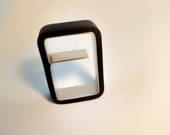 Big Contemporary Square Black Silver ring - Big Bold Statement Modern ring - Original Geometric jewelry