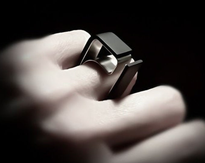 Black Avant Garde ring ~ Unique Architect ring - Unusual Bold Contemporary Modern jewelry - Geometric Unisex jewelry